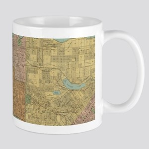Vintage Map of Vancouver Canada (1920) Mugs